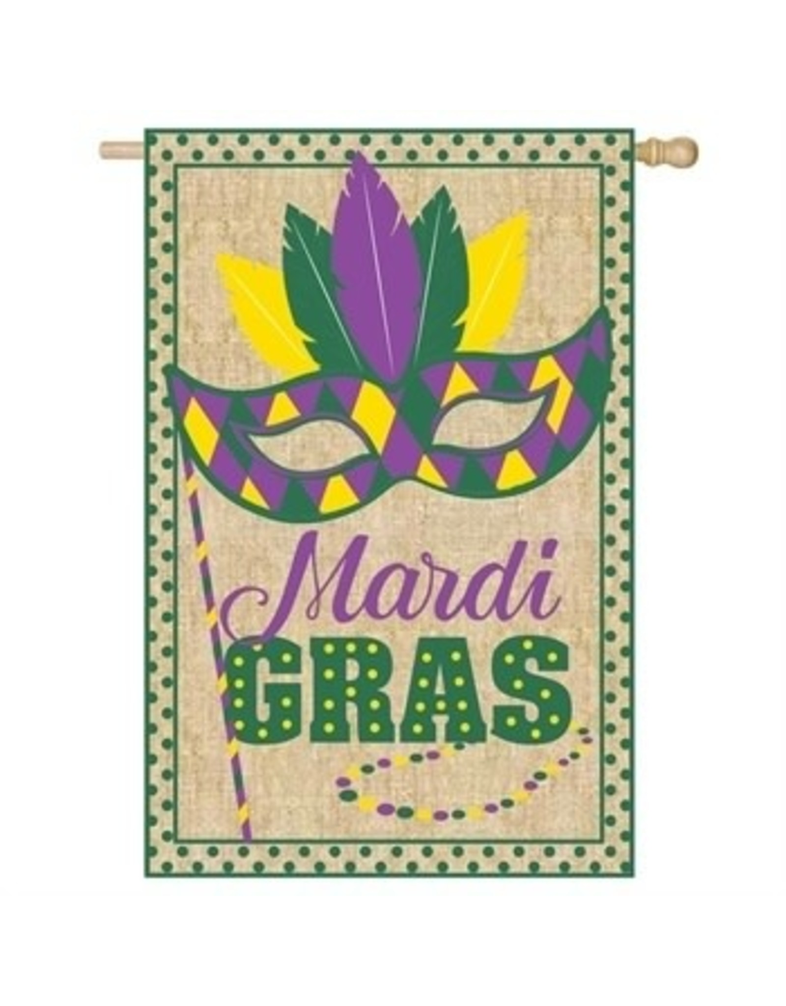 Evergreen Enterprises Mardi Gras House Burlap Flag