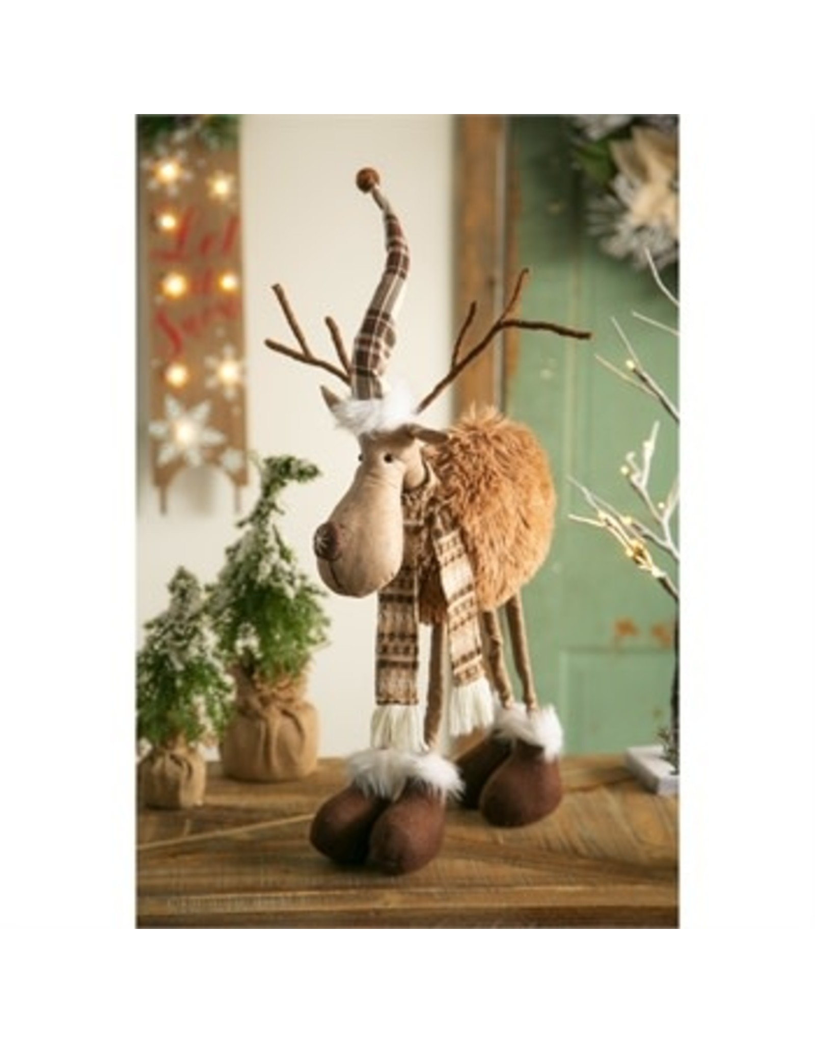 """Evergreen Enterprises 21"""" Standing Fabric Moose with Hat and Scarf Tabletop Décor"""