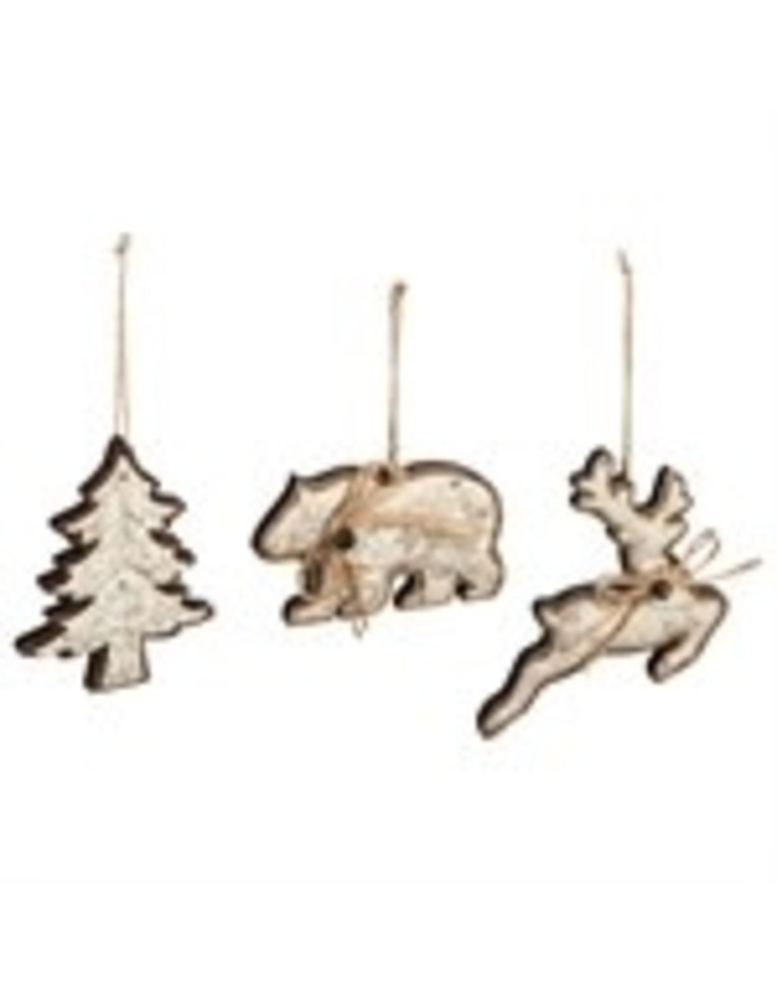Evergreen Enterprises Wood & Metal Ornaments w/Jute Bow,Light Brown