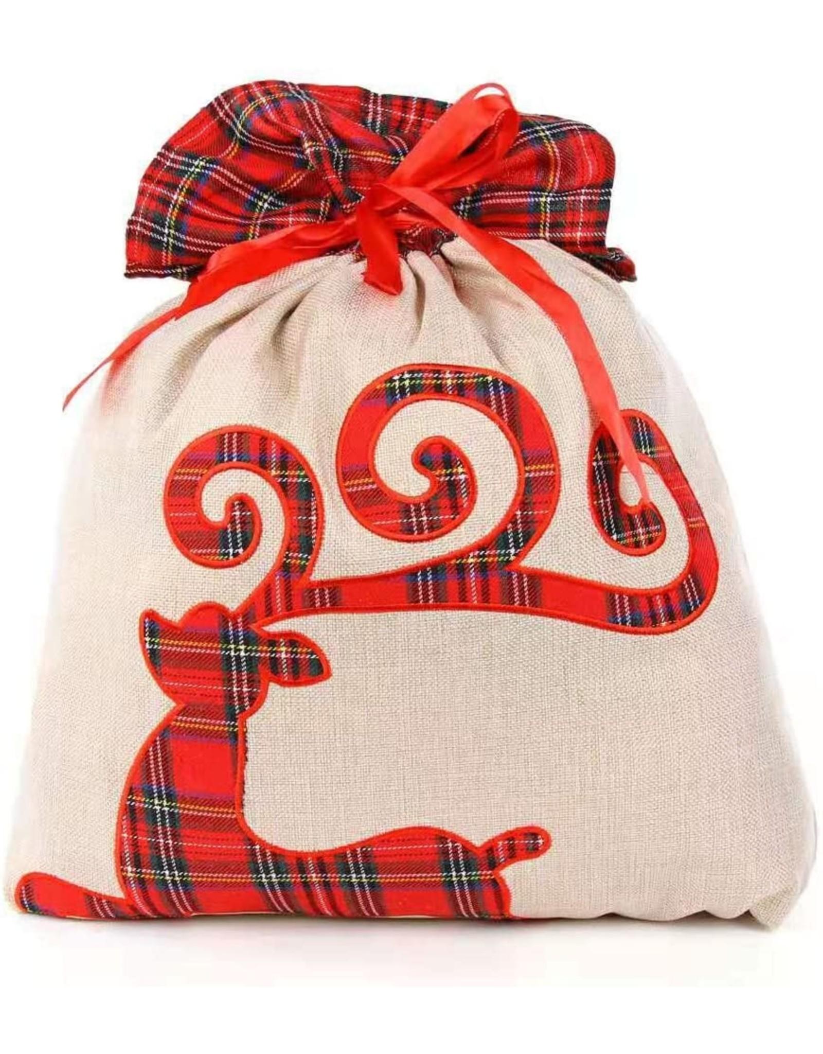 Mudpie Reindeer Tartan Christmas Sack