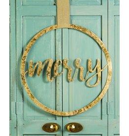 Mudpie MERRY Gold Tin Wreath