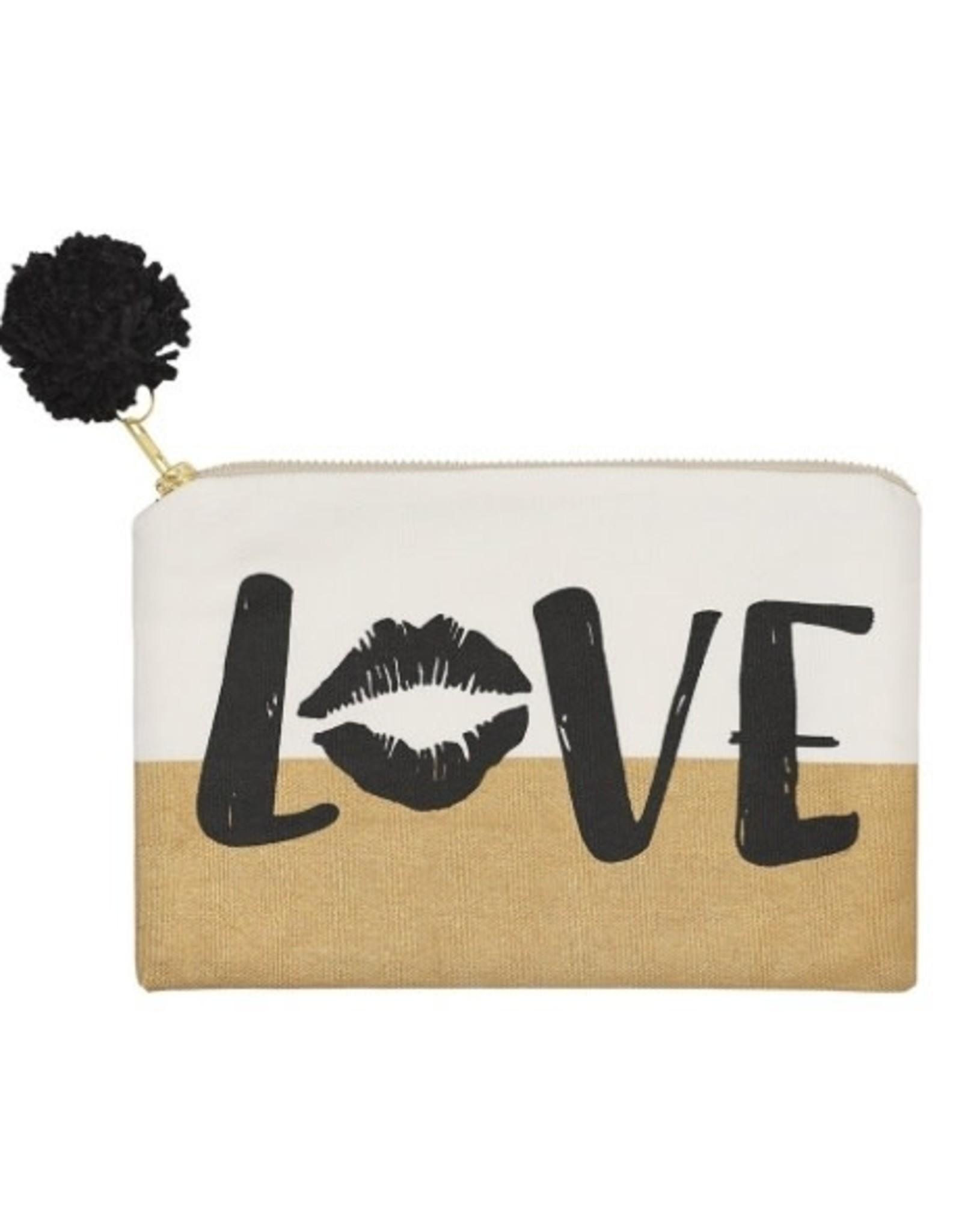Mudpie Love Gold Dipped Cosmetic Bag