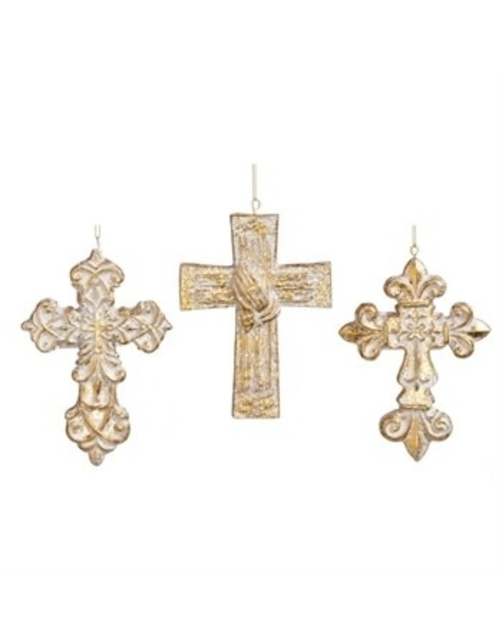 Evergreen Enterprises Gold Polystone Cross Ornament-Flourish Cross