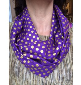 Two's Company Inc. Purple Scarf With Gold Dots