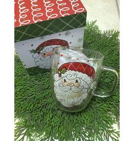 Evergreen Enterprises Glass Cafe Cup 12oz-Santa