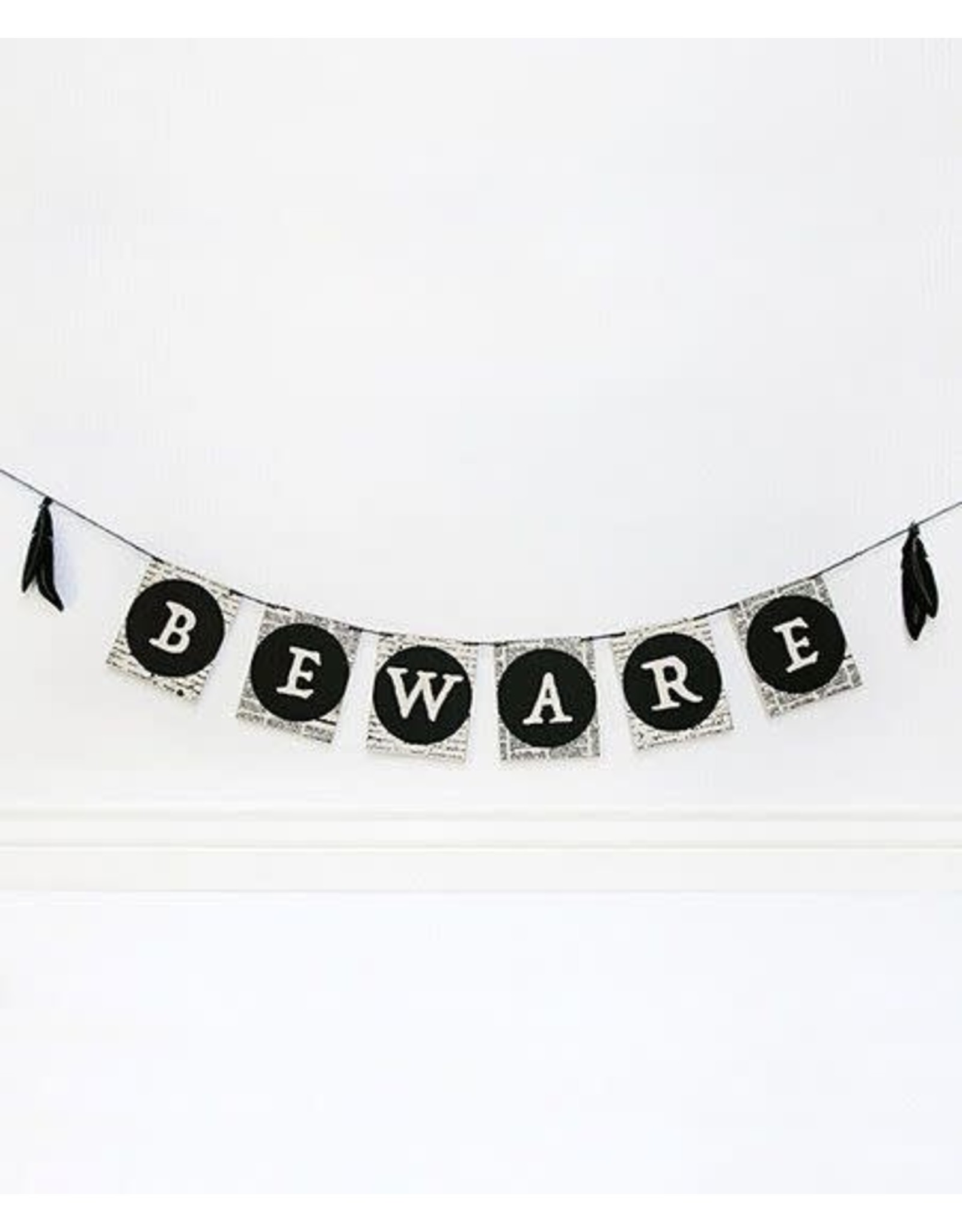 Adams & Co. Wood Banner With Feathers, (BEWARE), Black and White