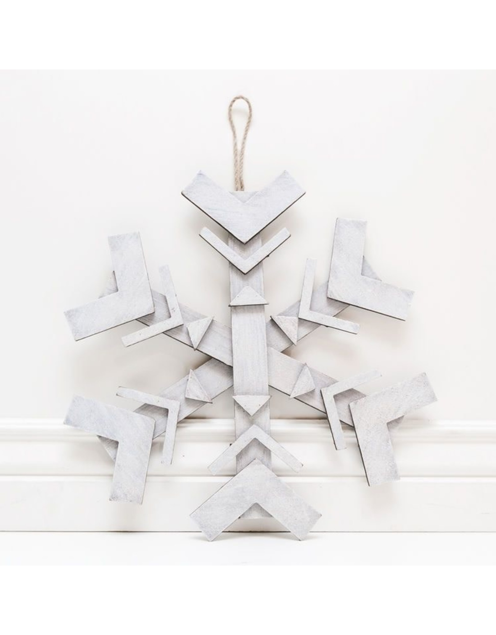 Adams & Co. White Wooden Snowflake Wall Decor