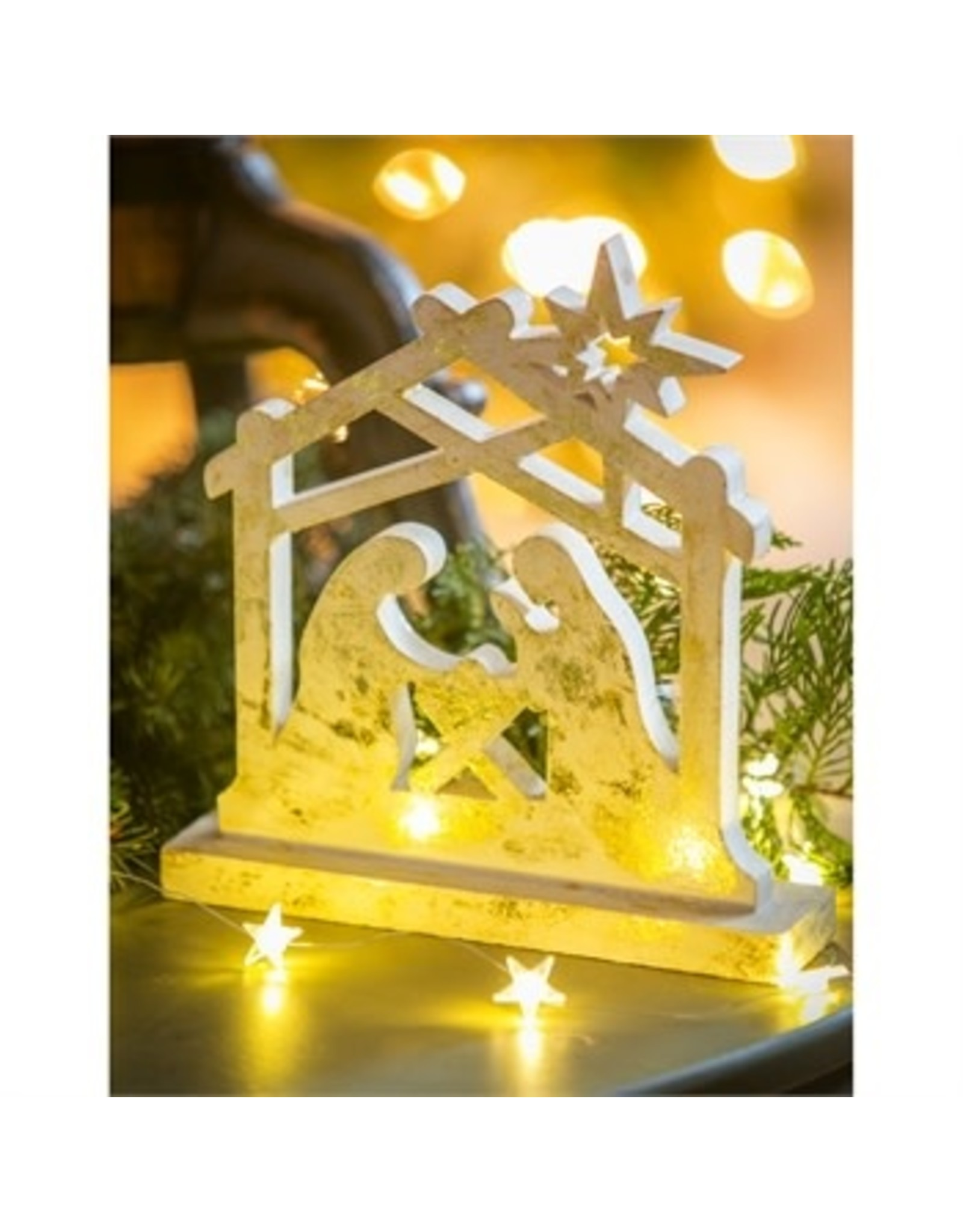 "Evergreen Enterprises Wooden Metallic Finish Nativity Tabletop Décor 9.5"""