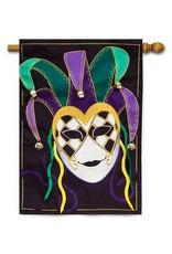 Evergreen Enterprises Mardi Gras Jester Mask House Flag