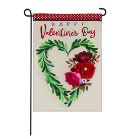 Evergreen Enterprises Valentine's Floral Heart Wreath Garden Applique Flag