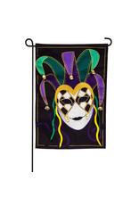 Evergreen Enterprises Mardi Gras Jester Mask Garden Linen Flag