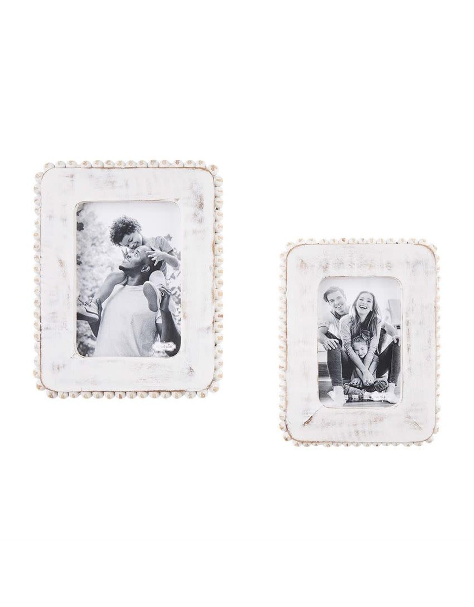 Mudpie White Beaded Wood Frame - 5x7