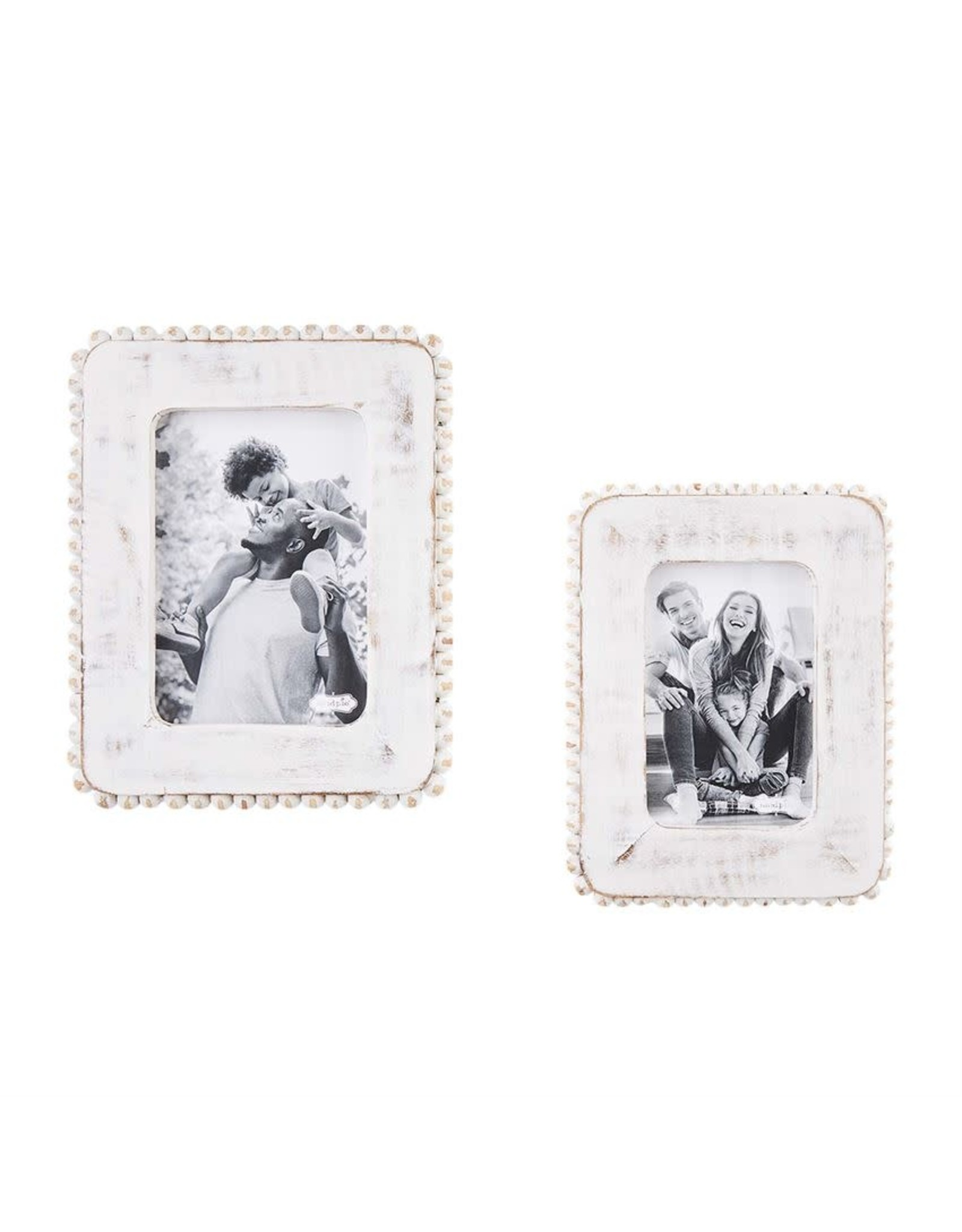 Mudpie White Beaded Wood Frame 4x6