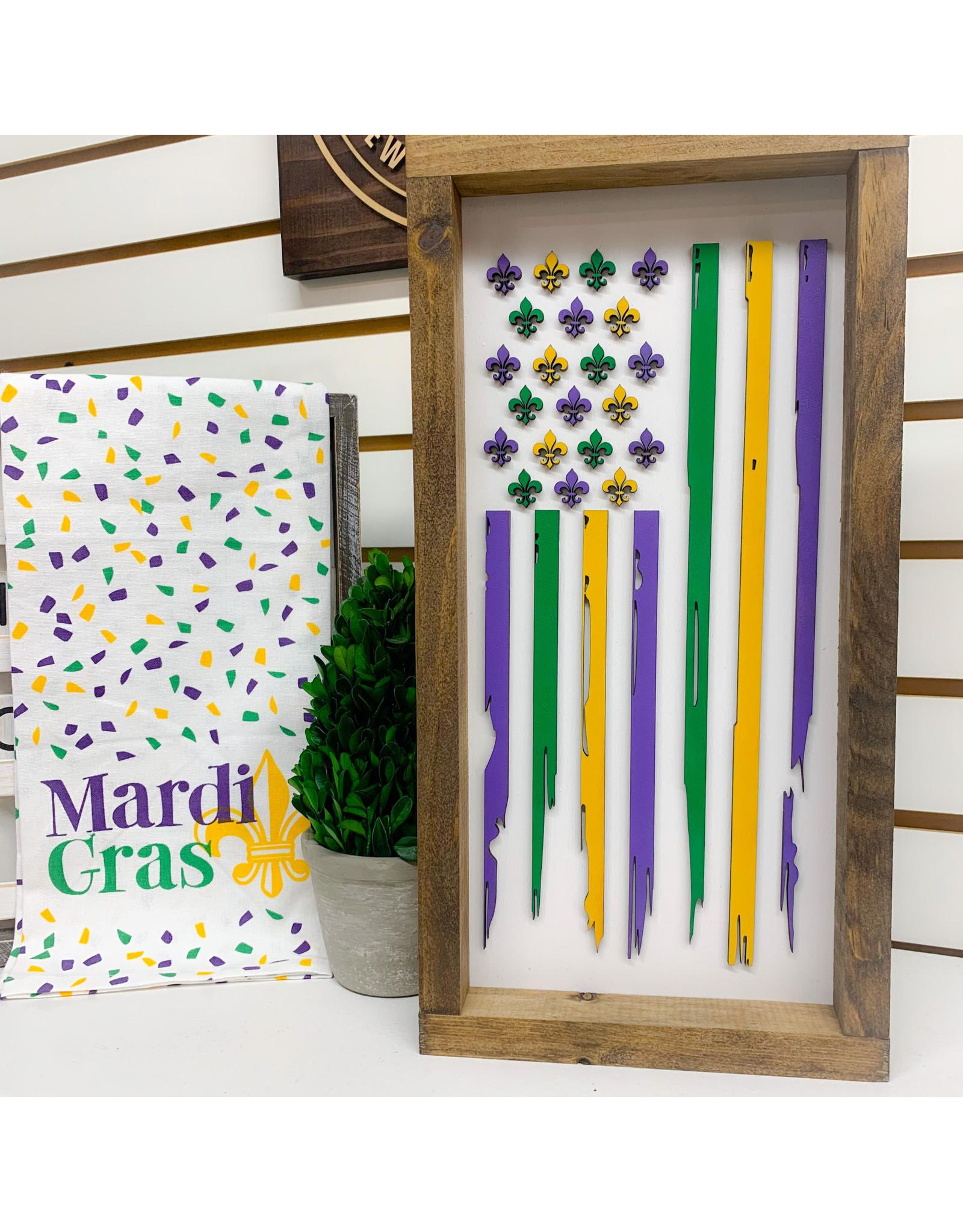 """Miche Designs MICHE-MARDI GRAS FDL FLAG Farmhouse Sign, 8""""x16"""""""