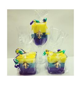 Southern Lights Tri-Color King Cake 20oz Stemless Glass Candles