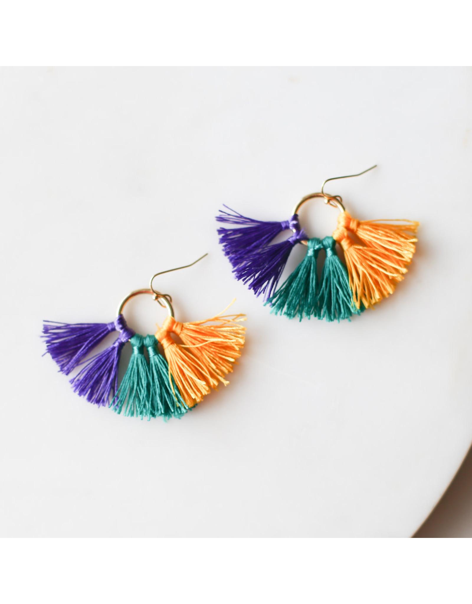 The Royal Standard Bon Temps Tassel Earrings Purple Green and Yellow