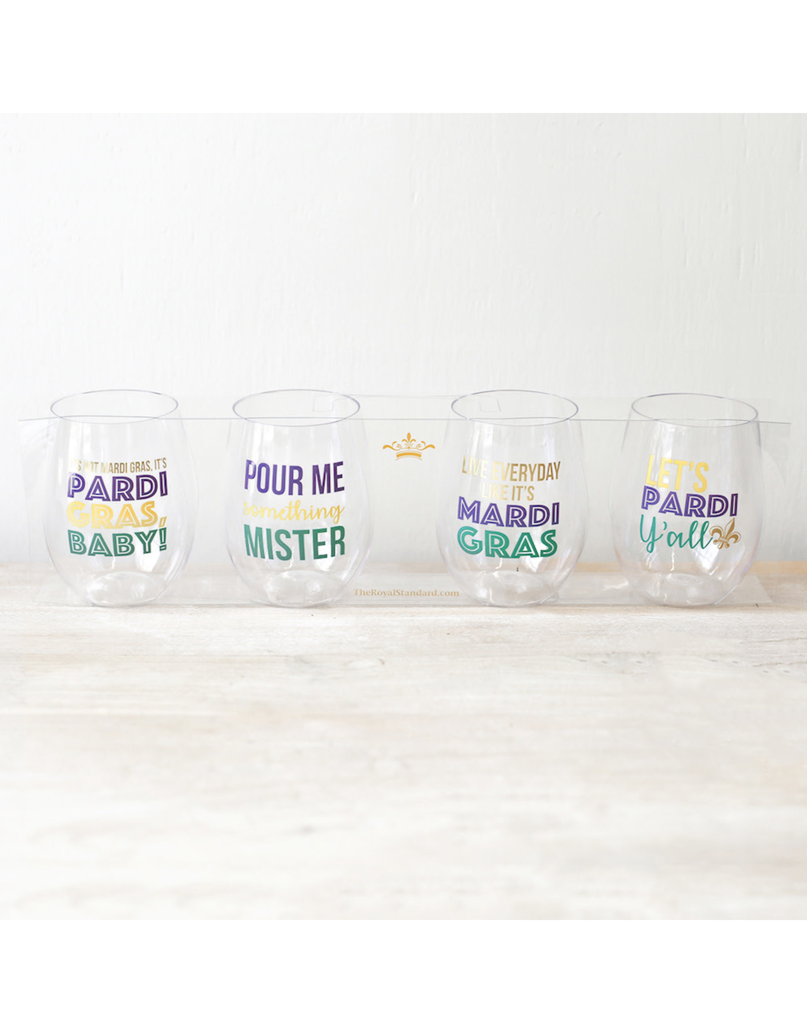 The Royal Standard Pardi Gras To Go Wine Glasses (set of 4)