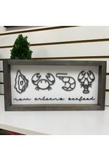 Miche Designs MICHE-NEW ORLEANS SEAFOOD HORIZONTAL FARMHOUSE LASER SIGN 8x16