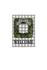 Evergreen Enterprises Boxwood Plaid Garden Suede Flag