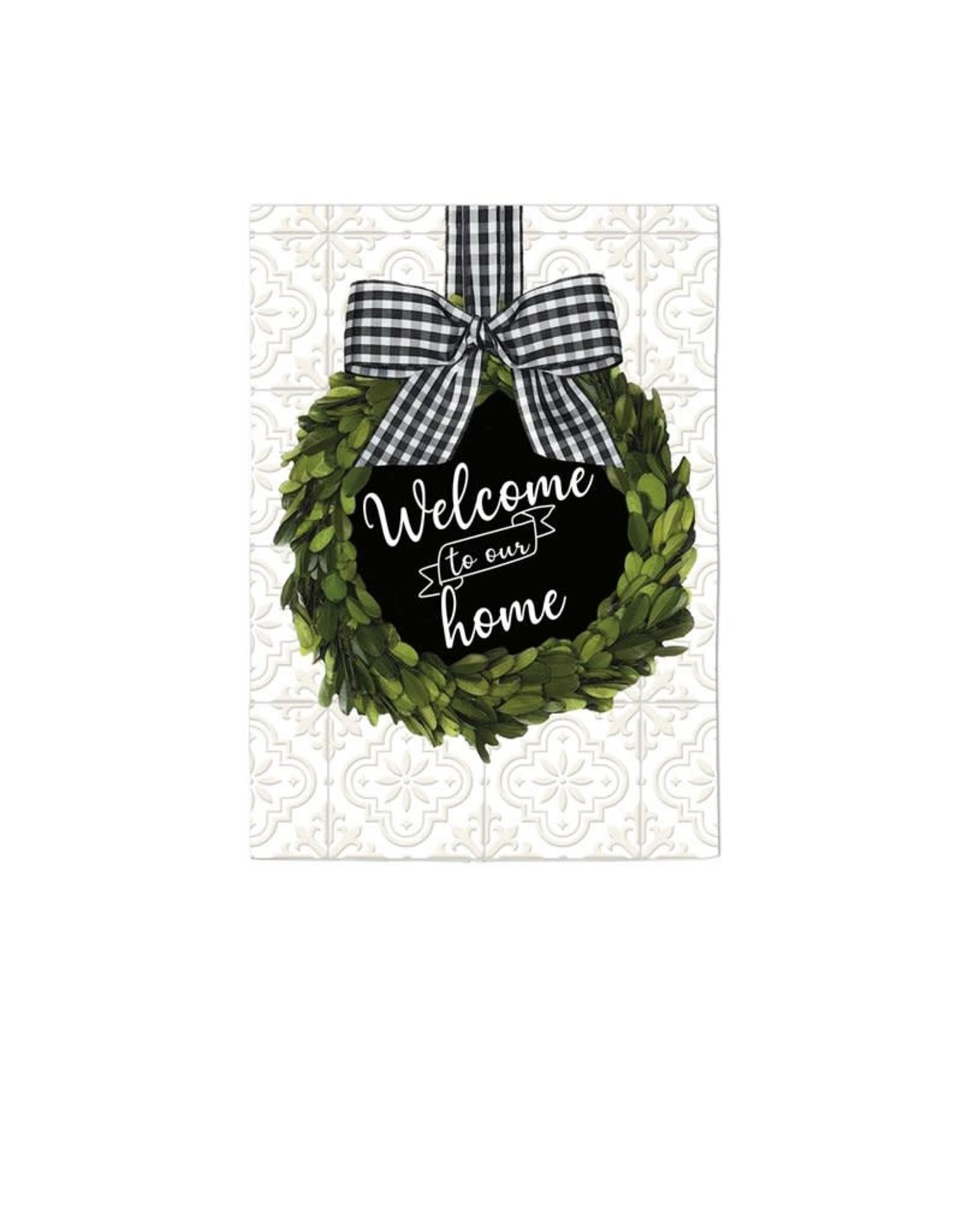 Evergreen Enterprises Boxwood Wreath Chalkboard Garden Suede Flag