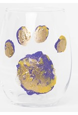 S. Bynum Art LSU Paw Print Stemless Wine Glass