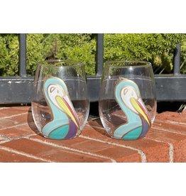 318 Art & Garden Blue Pelican Stemless Wine Glass