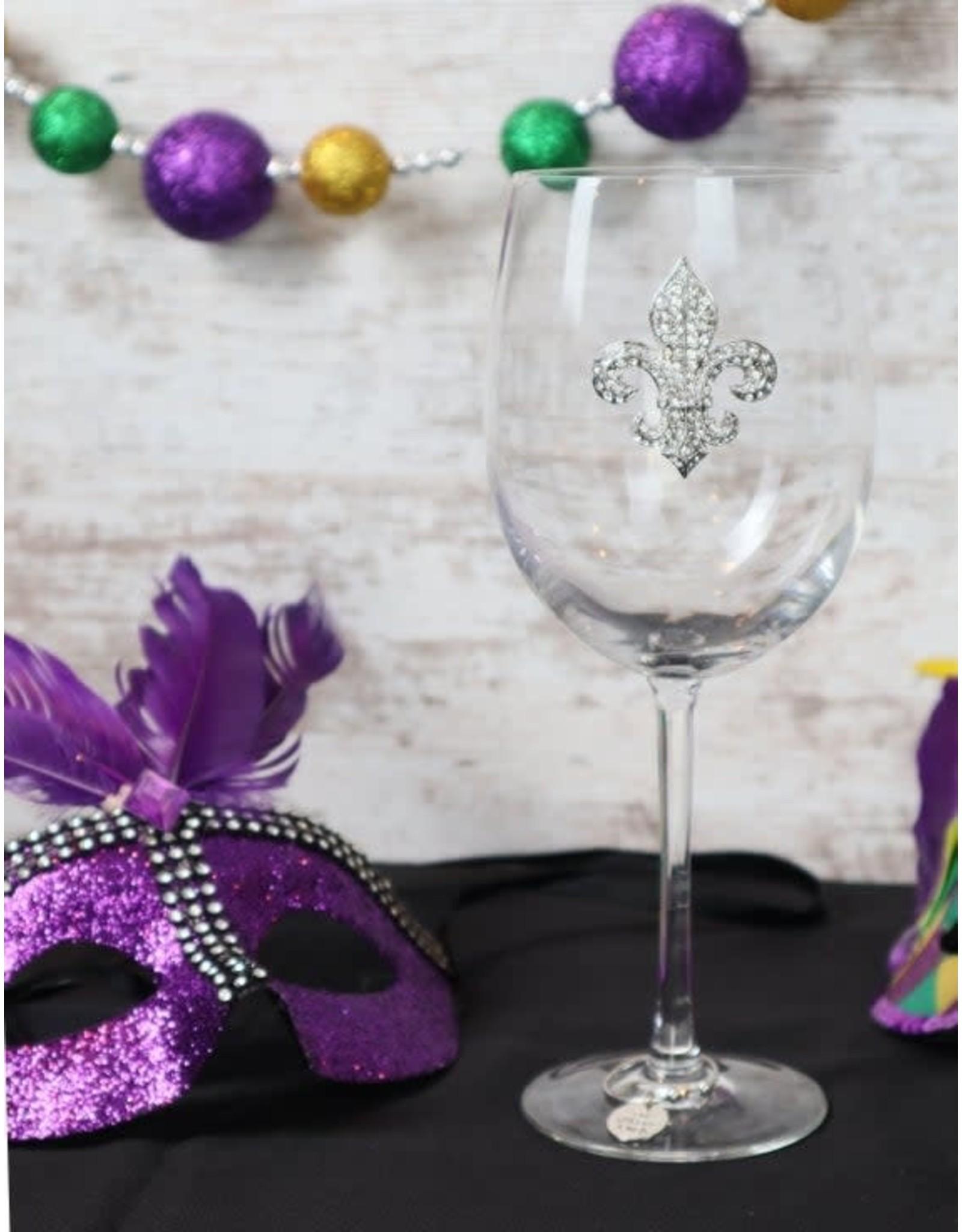 The Queen's Jewels Diamond FDL Jeweled Stemmed Wine Glass