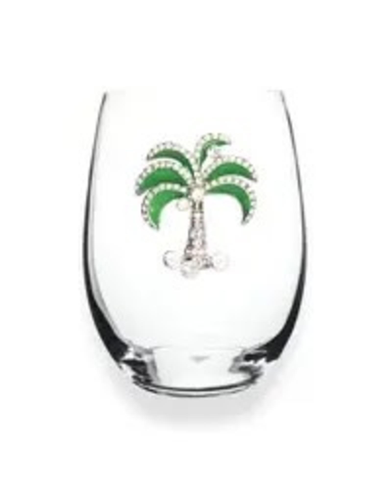 The Queen's Jewels Green Diamond Palm Tree Jeweled Stemless Wine Glass