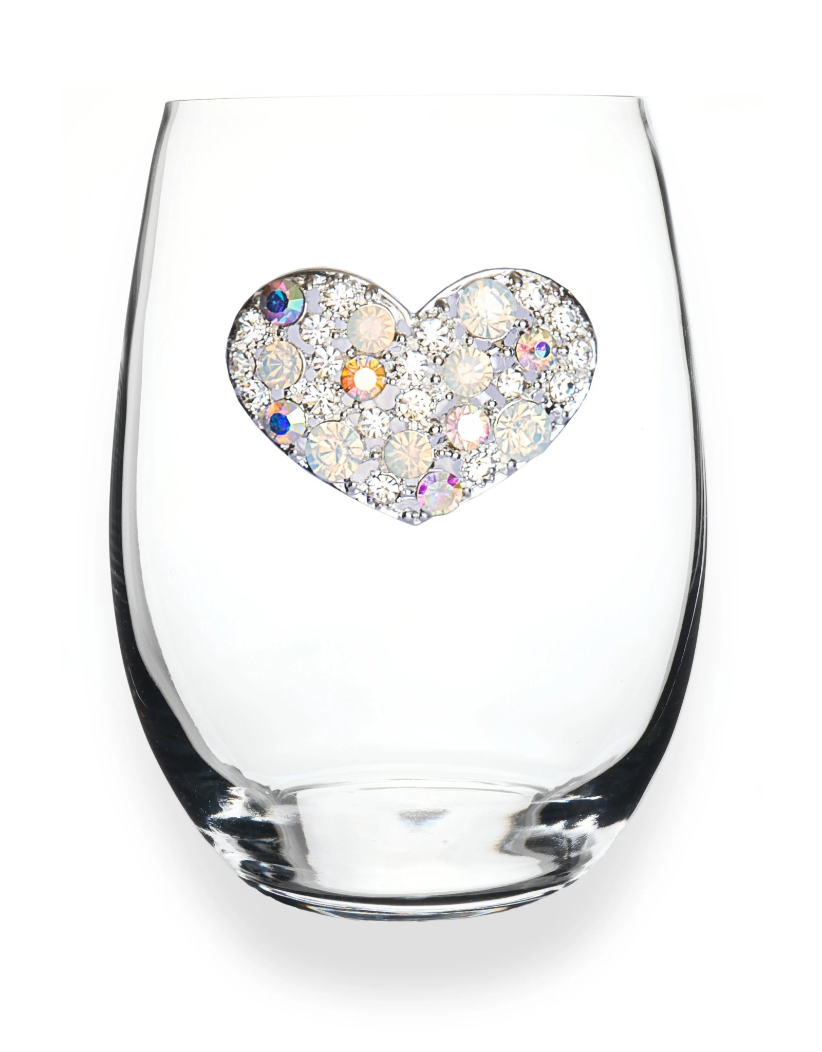The Queen's Jewels Multi Stone Heart Jeweled Stemless Wine Glass