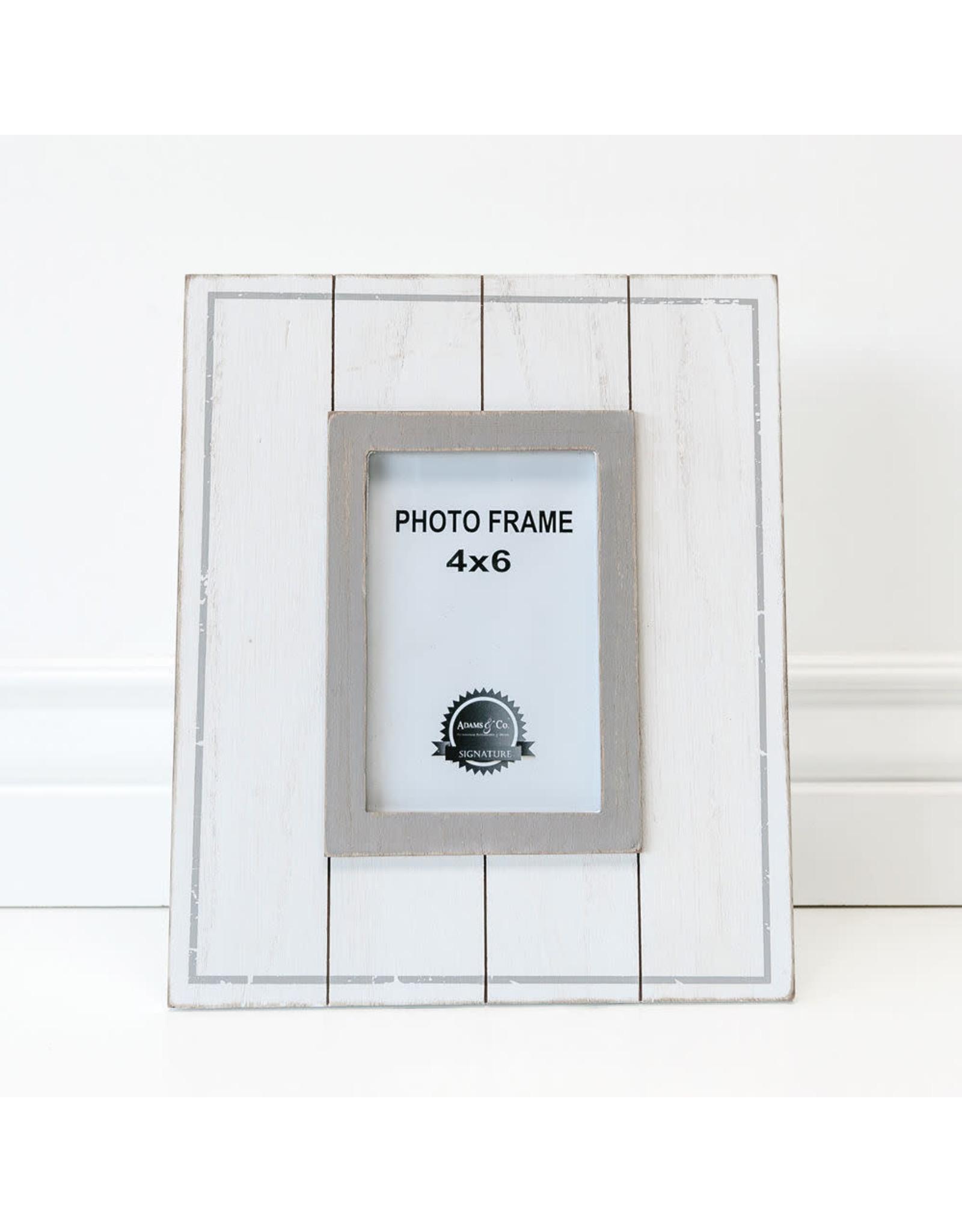 Adams & Co. Wood Photo Frame, White/Gray 4X6