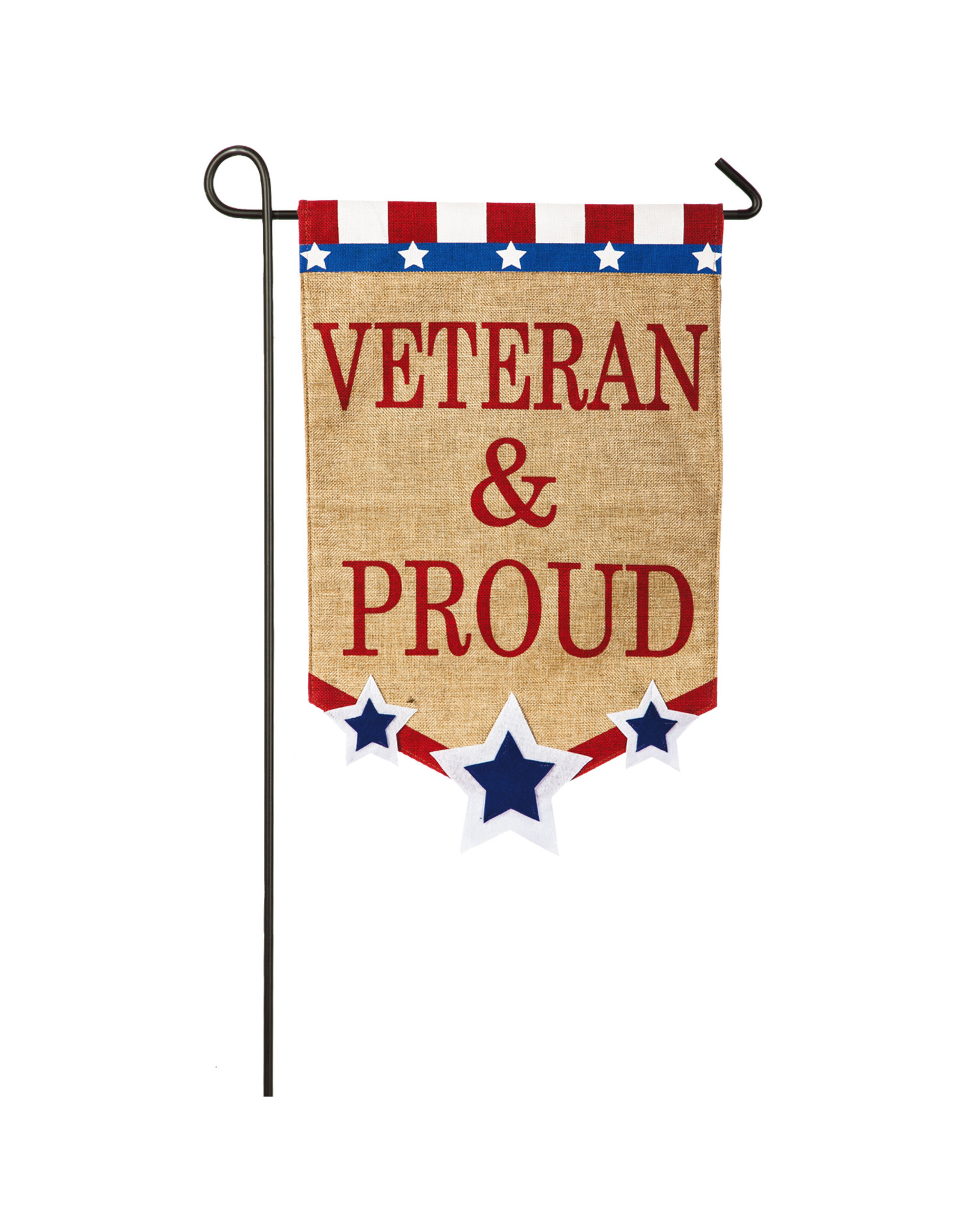 Evergreen Enterprises Veteran & Proud Garden Burlap Flag
