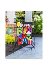Evergreen Enterprises Happy Birthday Garden Linen Flag