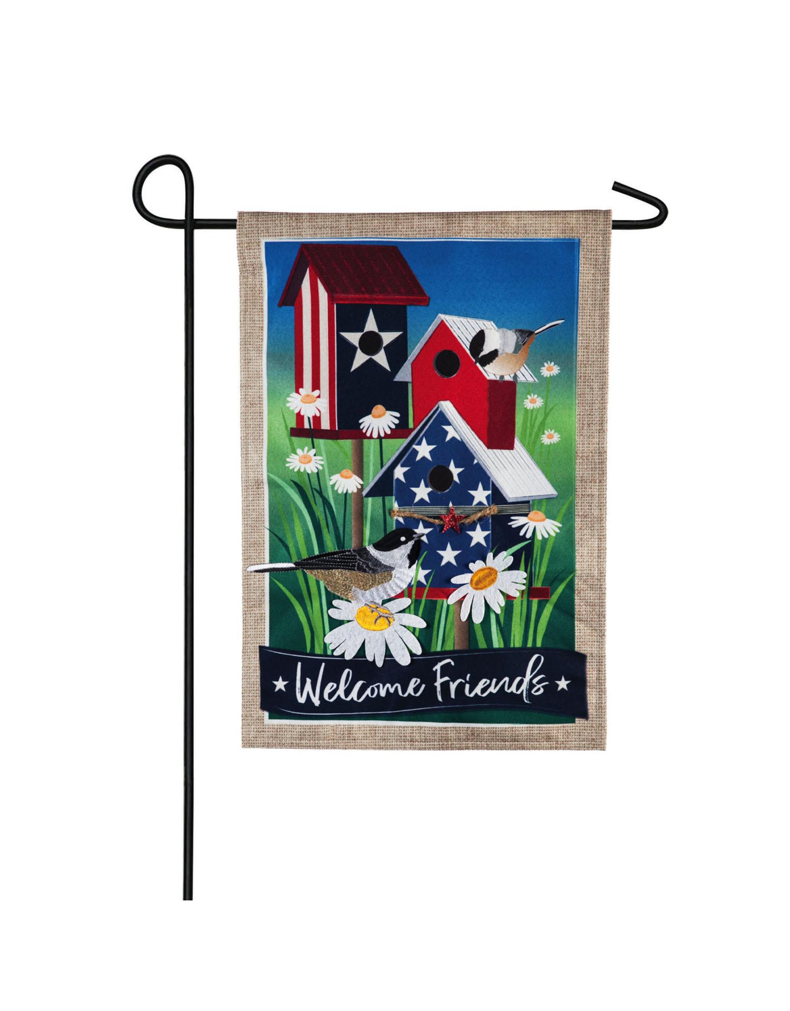 Evergreen Enterprises Patriotic Birdhouses Garden Linen Flag