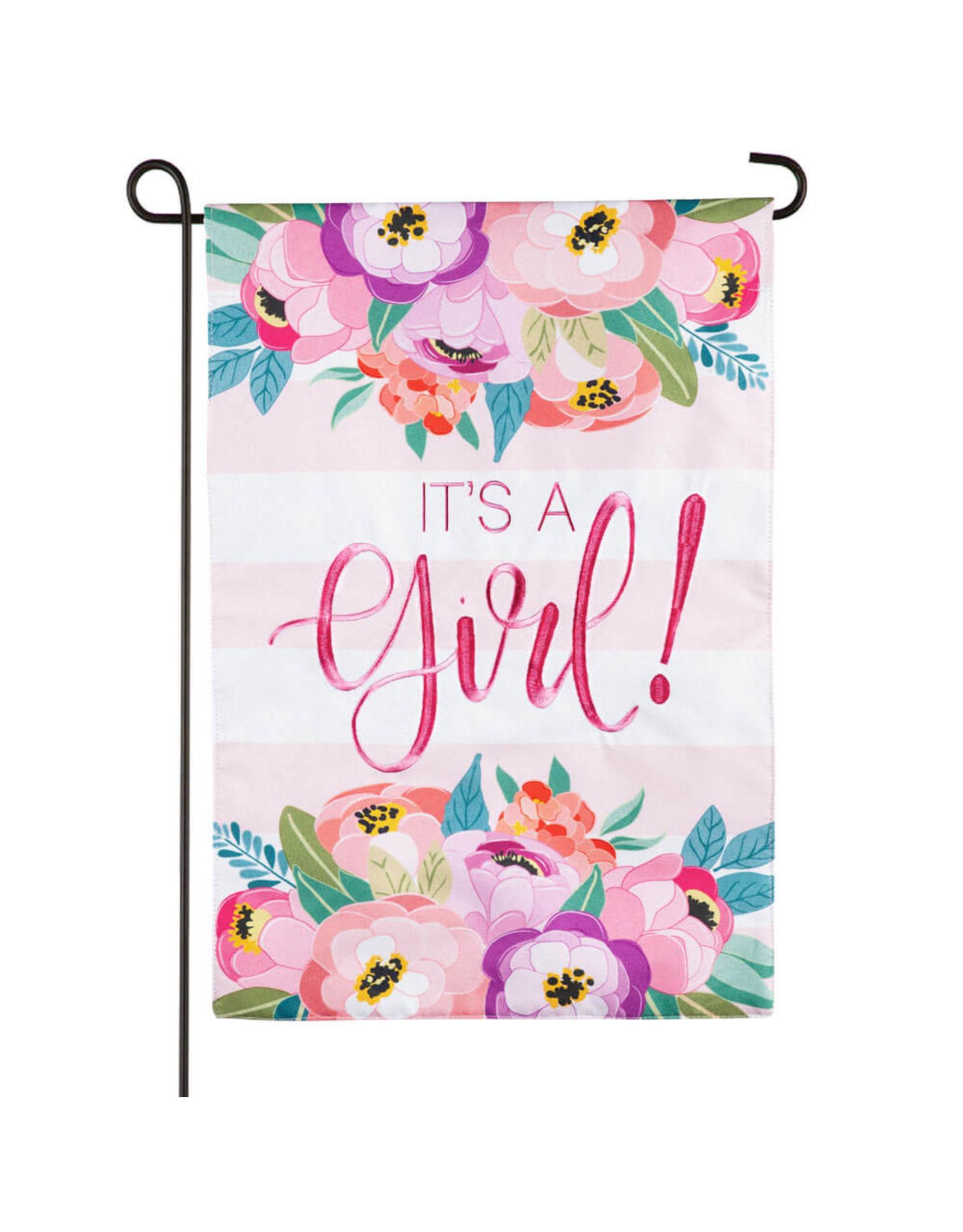 Evergreen Enterprises It's a Girl Garden Linen Flag