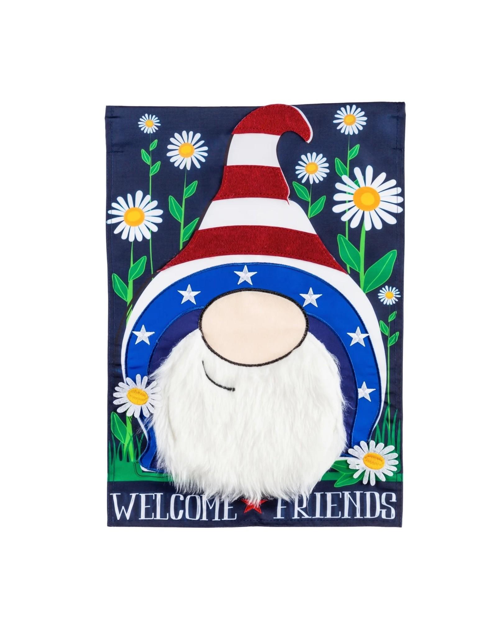 Evergreen Enterprises Patriotic Gnome Garden Applique Flag