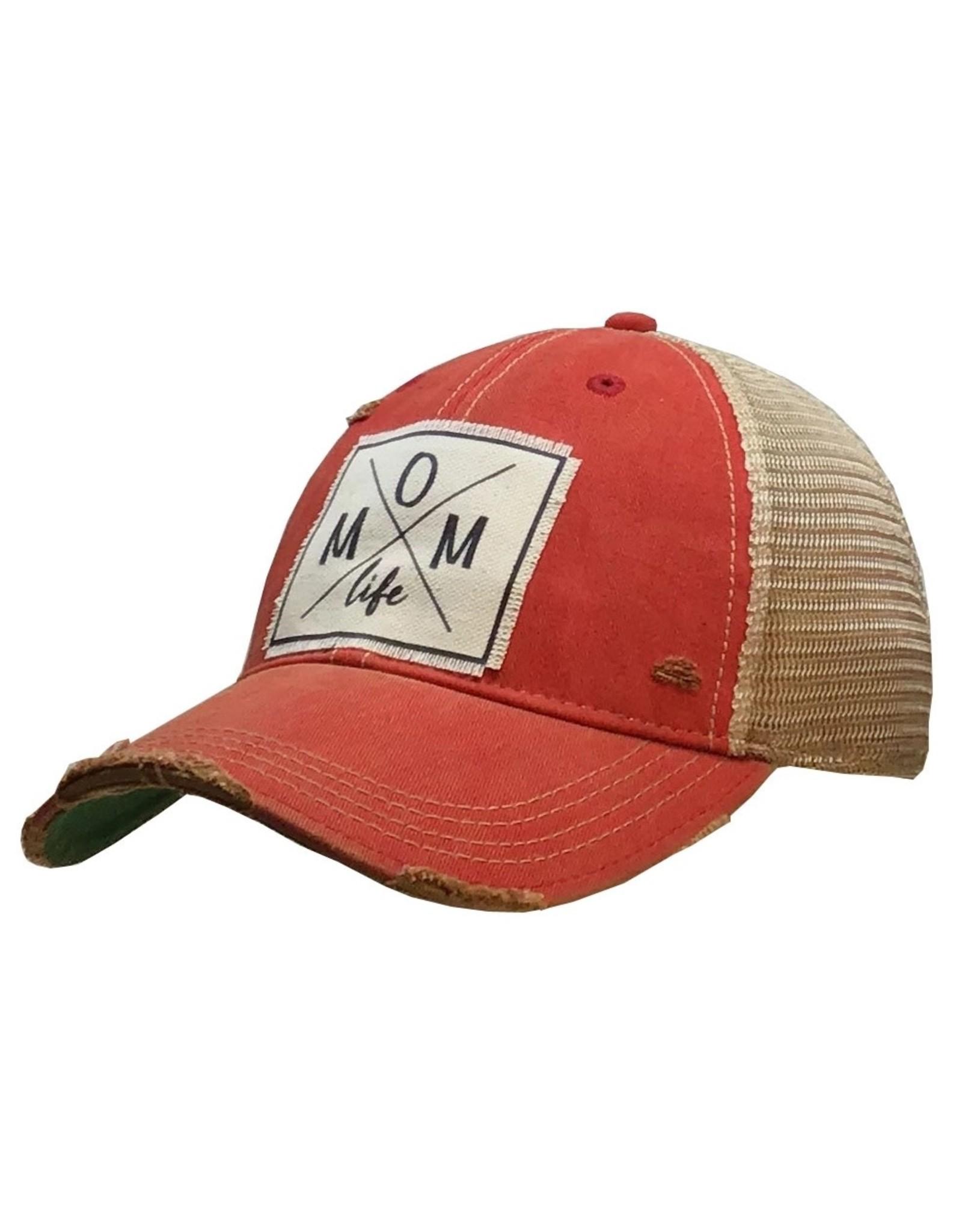 "Landmark Products Light Red ""Mom Life"" Distressed Trucker Cap"