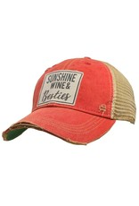 Landmark Products Sunshine Wine and Besties Distressed Trucker Baseball Cap