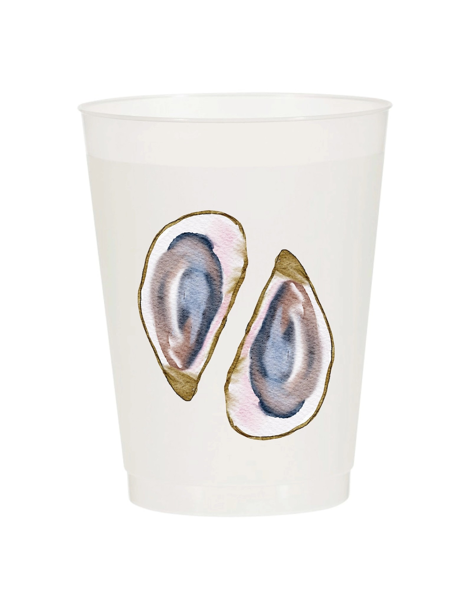 Sip Hip Hooray Oyster Watercolor Reusable Cups - Set of 10
