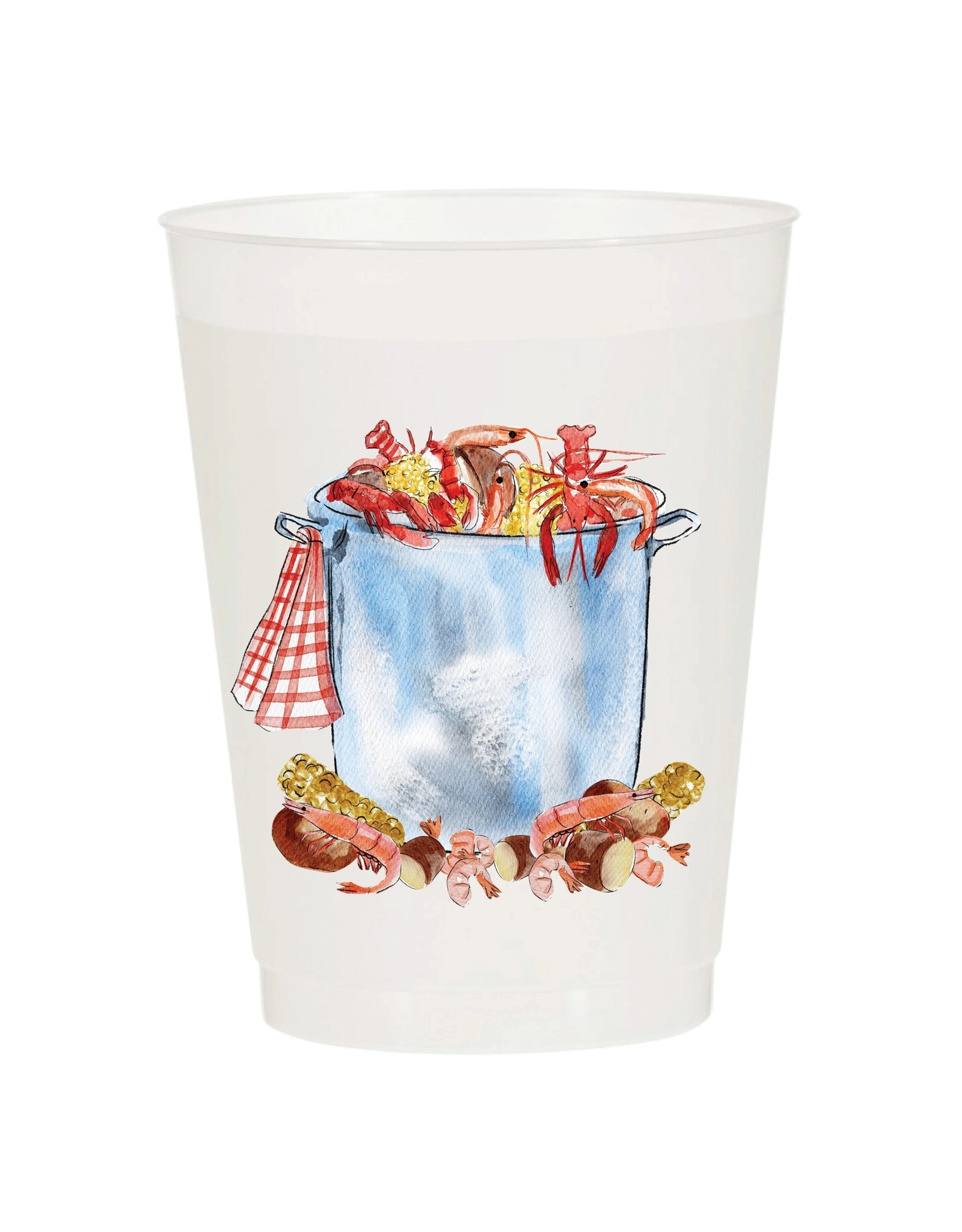 Sip Hip Hooray Low Country Boil Pot Watercolor Reusable Cups - Set of 10