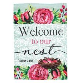 Magnolia Garden Flag Company Welcome To Our Nest Joshua 24:15 Applique Grdn Flg