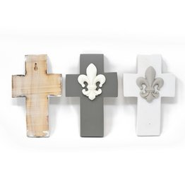 Roux Brand Fleur-de-lis Wall Cross - Grey
