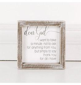 """Adams & Co. Dear God, I Want To...5"""" x 5"""" x 1.5"""" Wood Framed Sign"""