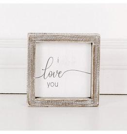 "Adams & Co. I Love You 5"" x 5"" x 1.5"" Wood Framed Sign"