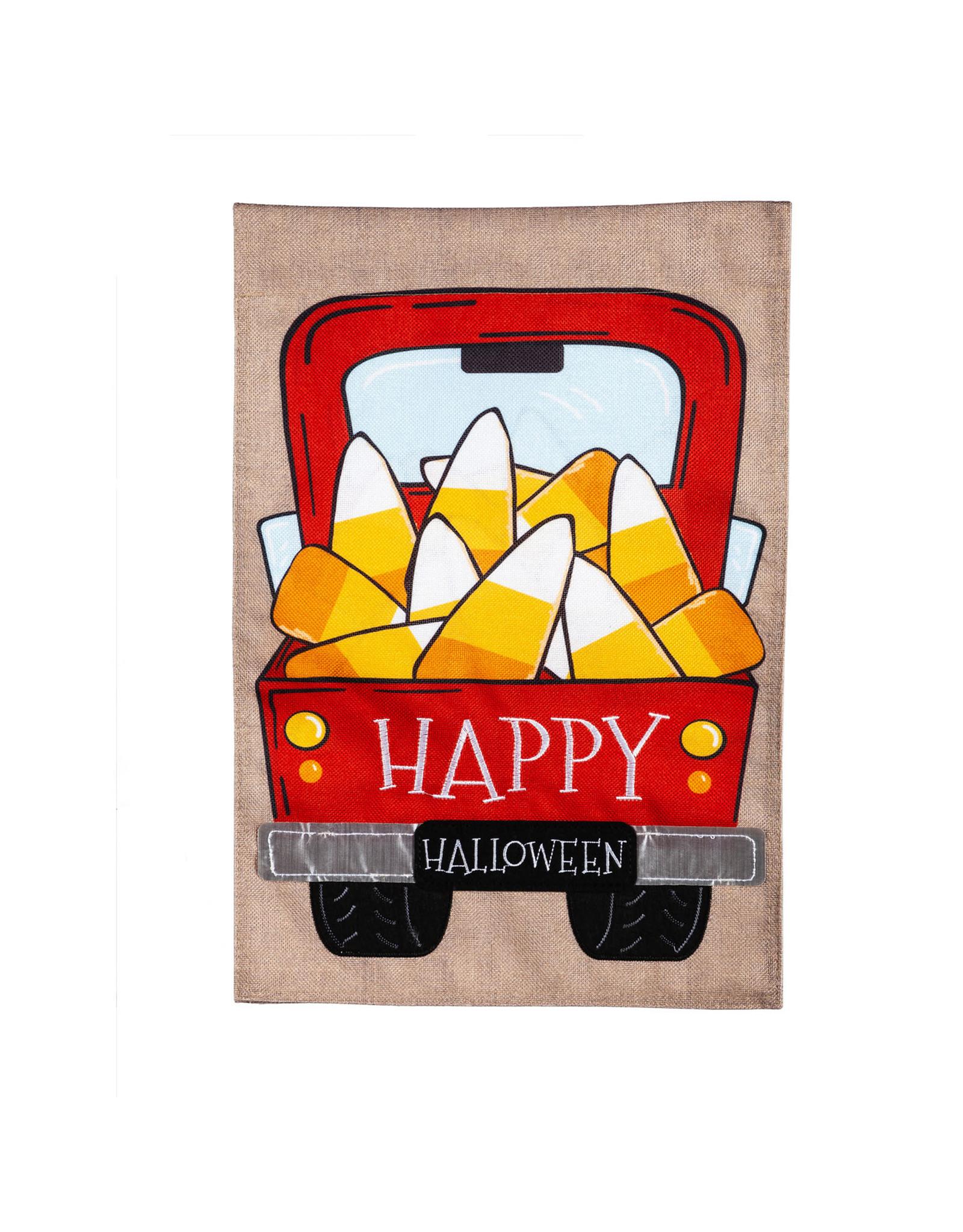 Evergreen Enterprises Candy Corn Truck House Burlap Flag 28 x 44