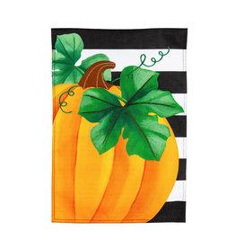 Evergreen Enterprises Pumpkin Stripe Garden Burlap Flag