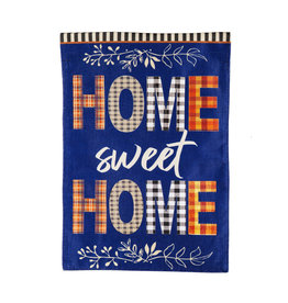 Evergreen Enterprises Home Sweet Home Plaid Garden Burlap Flag