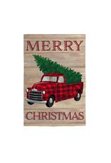 Evergreen Enterprises Holiday Plaid Truck Garden Linen Flag