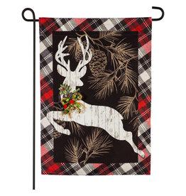 Evergreen Enterprises Woodgrain Reindeer Garden Linen Flag
