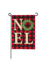 Evergreen Enterprises NOEL Wreath Garden Linen Flag