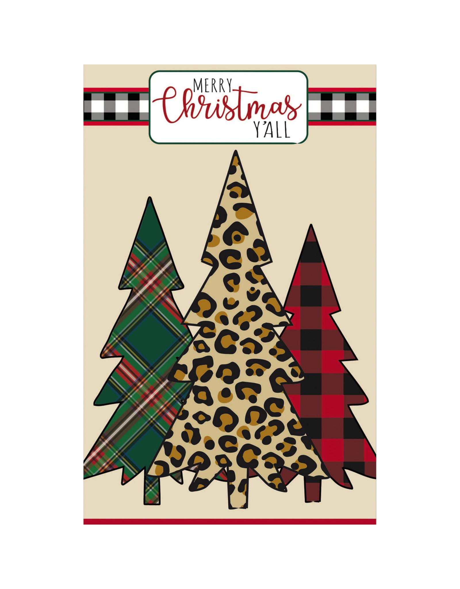 Evergreen Enterprises Mixed Print Christmas Trees House Applique Flag